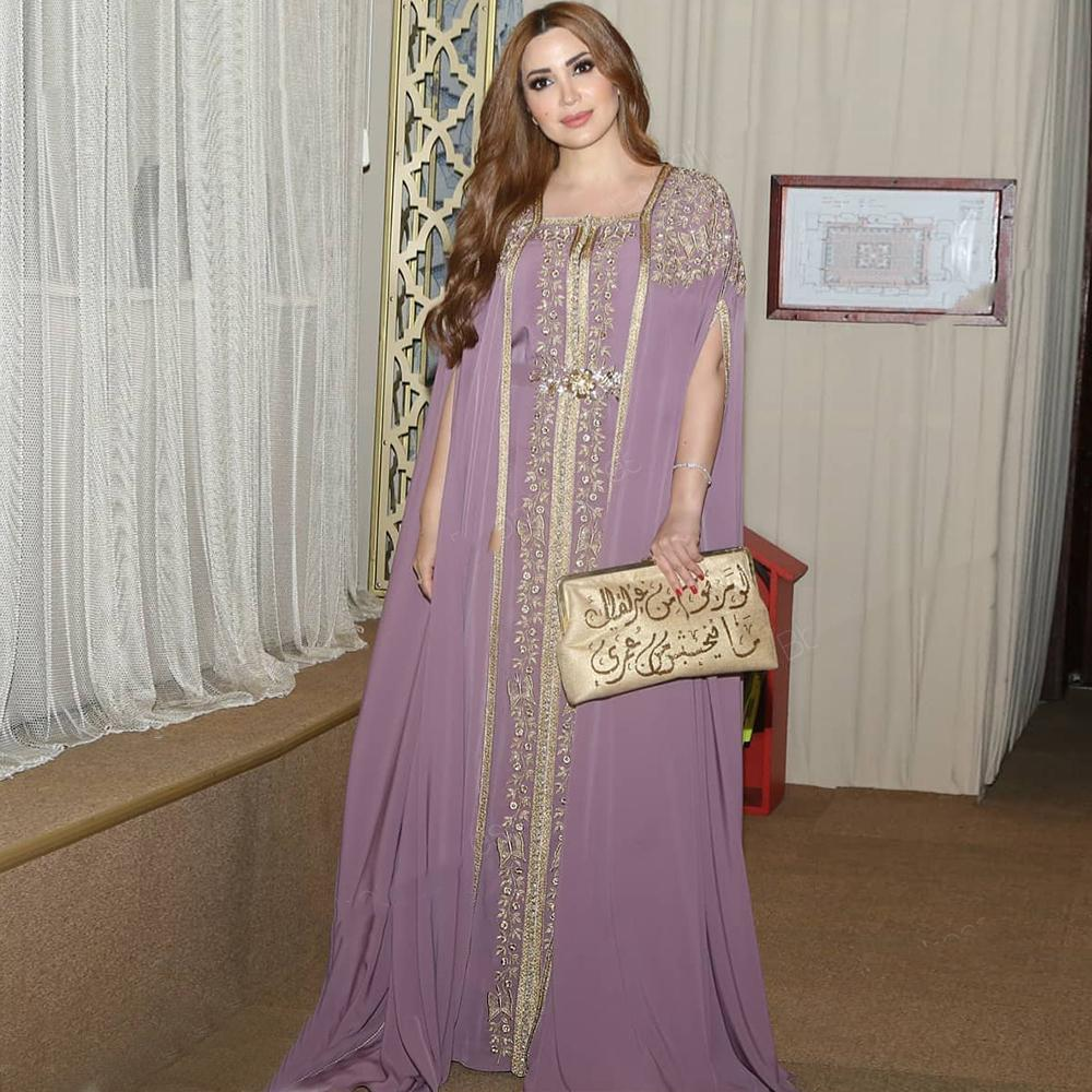 Caftano abiti da sera convenzionali di moda marocchine 2020 del partito lungo da promenade del ricamo Appliques arabo donne musulmane Dress Plus Size robe de soiree