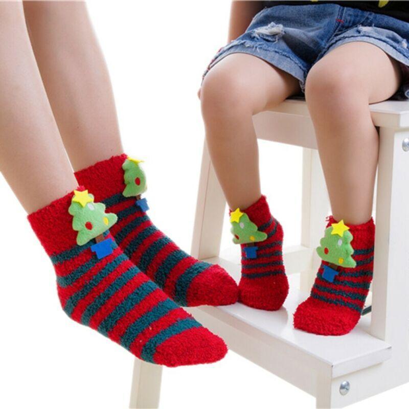 Meias mãe bebê crianças natal cosplay chancy xmas tema padrão quente tornozelo colorido