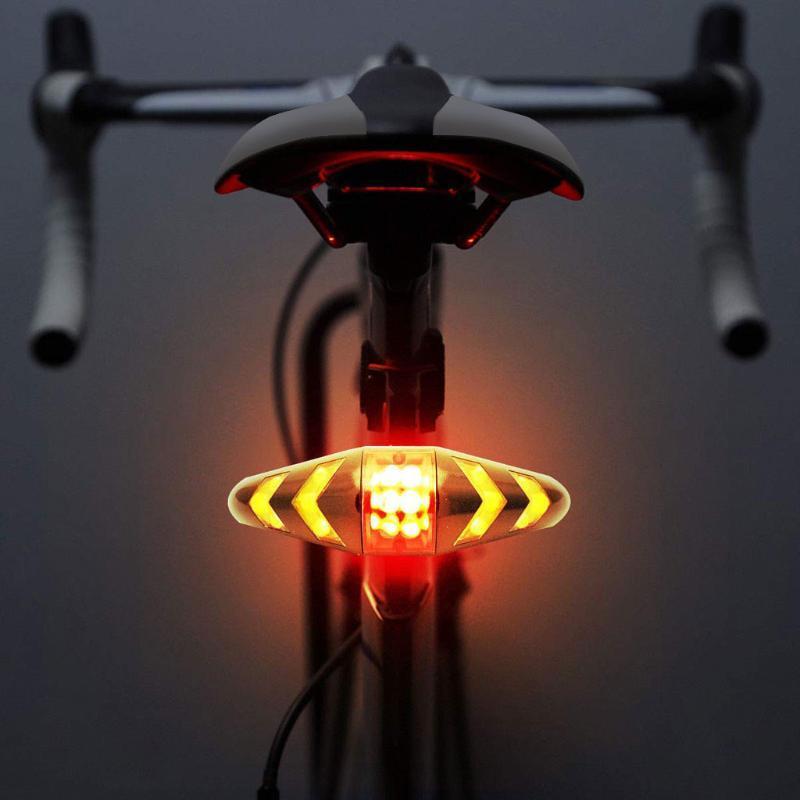 Tail bicicleta luz gire a la cola de la bicicleta señales con la luz sin hilos Advertencia Ciclismo para la bicicleta Lámpara de seguridad Noche