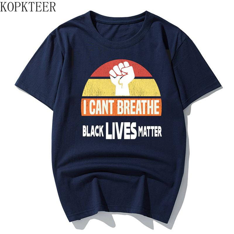 KOPKTEER Tshirt Мужчины Черные Lives Matter Я Cant Breathe Tshirt люди Слоган Top Tee Печать Письмо коротким рукавом Новое прибытие 2020