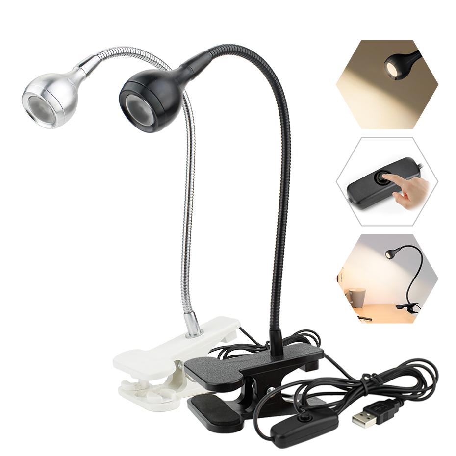 USB Power Supply lâmpada de mesa com dobrável Protecção ocular Led Tabela Clip Holder recarregável USB Lamp flexível livro de leitura de luzes