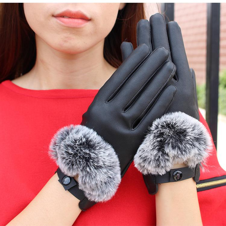KUYOMENS 2020 nuevo llega las mujeres de moda de la pantalla táctil anti lava las señoras del cuero guantes cortos del invierno