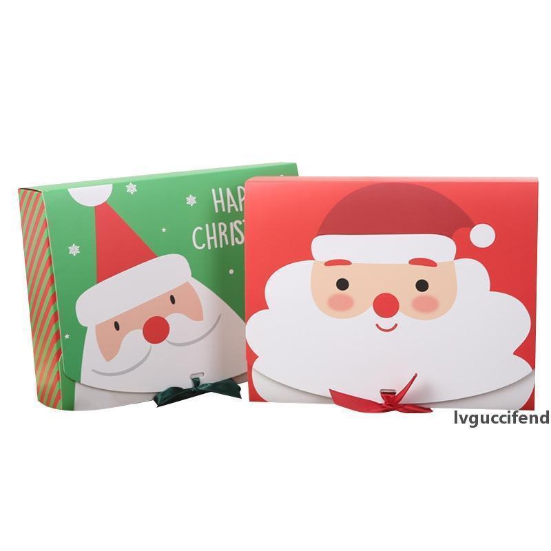 Artisanat papier chocolat Boîte de rangement cadeau ruban rouge Emballage Grand Wrap vert Boîtes de Noël Bow Bonbonnière Diy 24cmx19.5cmx7cm jjxh nlTHc