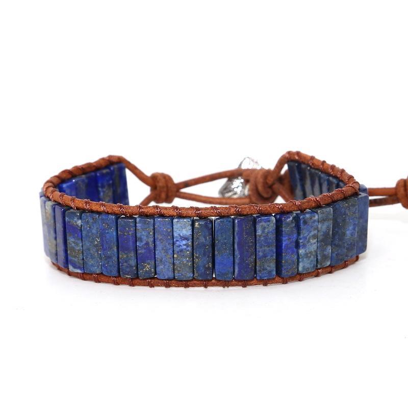 Урожай Природный камень Кожа Wrap браслет Богемия Стиль Творческий ручной работы из бисера браслеты ювелирные изделия для женщины партии Оптовая