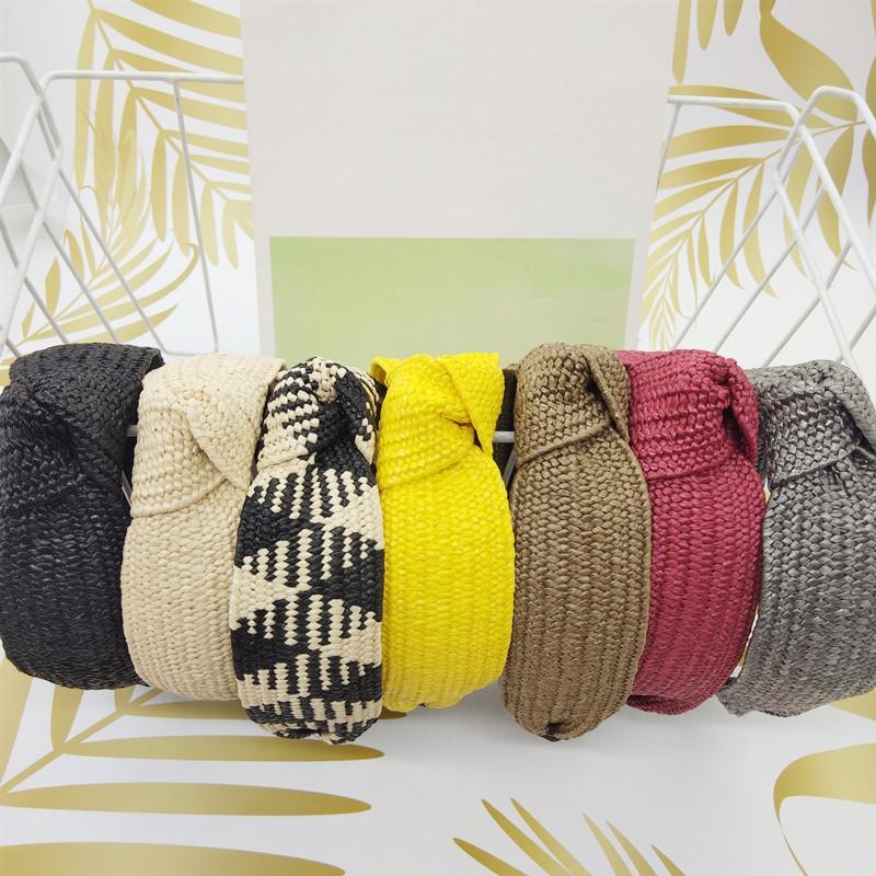 SHUANGR Moda Hairband paglia tessuto annodate fascia per le donne Croce a mano dei capelli del cerchio Hairband Accessori per capelli