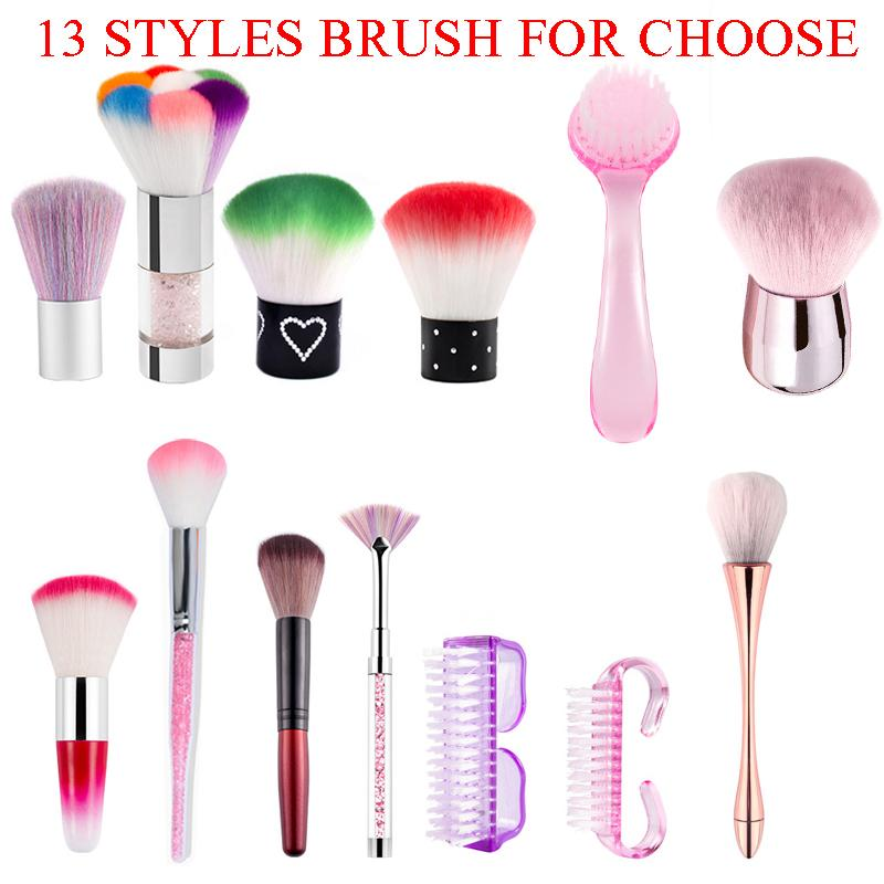 13 Styles Nail Art Brush Fan Painting Drawing Cleaning Dust Glitter Powder Remover Pen Gradient Acrylic Rhinestones Handle Manicure Tools