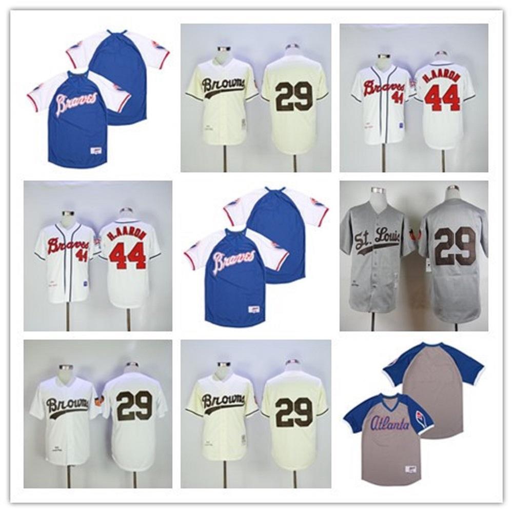 세인트 루이스 브라운 29 Satchel Paige Jersey Grey White Cream 1953 빈티지 레트로 야구 유니폼 고품질 100 % 바느질