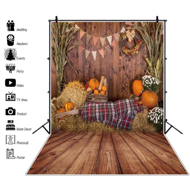 Magazzino rurale Fattoria Vecchio Pavimento di legno Autum Haystack zucca di compleanno del bambino Photo Backgrounds Photocall Fotografia Sfondo