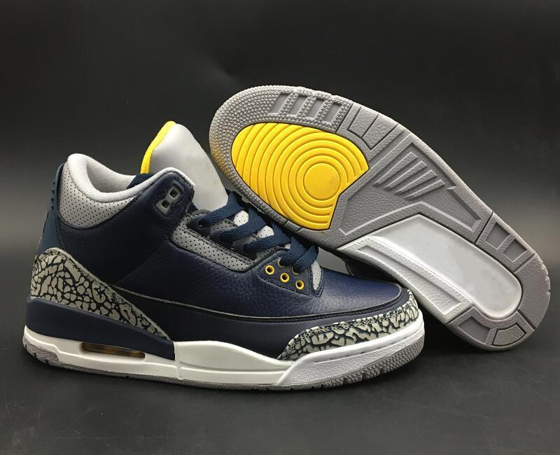 Best Qaulity 3 Michigan College Navy Amarillo Cement Grey Basketball Shoes New Custom III Midnight Navy Custom Sneakers With Box