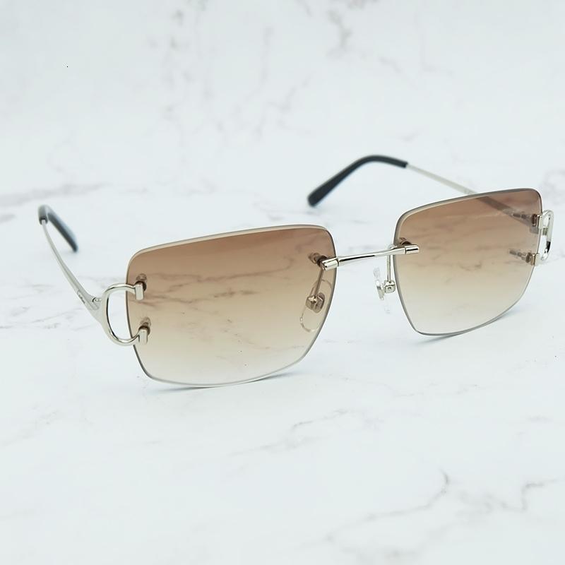 Rimless Vintage Sun Oversized Glass Designer Brand Brand Lusso Donne Occhialole da sole Grand Big Strada Sunglasses Carter Shades Ch01