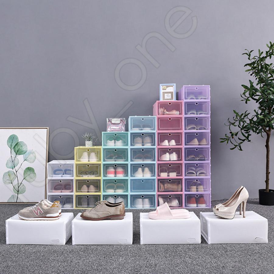 Kalınlaşmak Temizle Plastik Ayakkabı Kutusu toz geçirmez Ayakkabı Saklama Kutusu Ayaklı Şeffaf Ayakkabı Kutuları Şeker Renk İstiflenebilir Organizatör Kutu RRA3618 Ayakkabı
