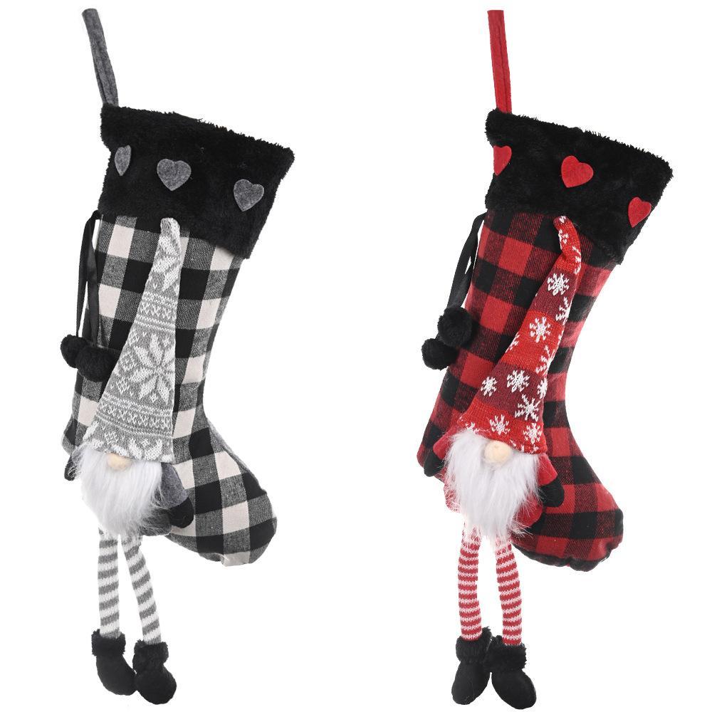 Medias de la Navidad arpillera tela escocesa del estilo del copo de nieve de Santa muñeco de nieve del reno de la felpa de la piel de imitación del manguito de Navidad Decoración EWC2117