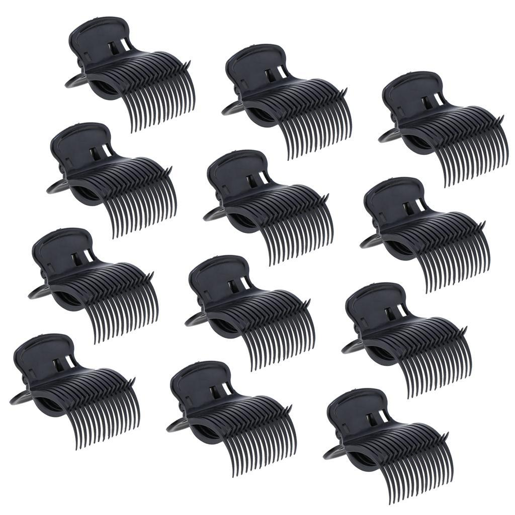 12pcs/lot Plastic Hot Roller Super Clips Hair Curler Claw Clamps For Women White Black Color Hair Accessories