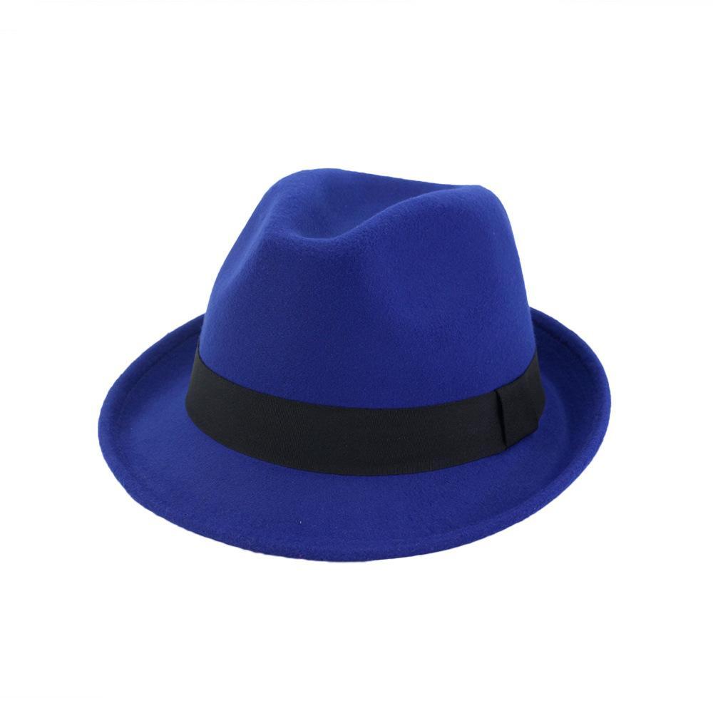 Unisex Yün Keçe Siyah Kurdele kadın erkek Örgün Parti Trilby Floppy Hat ile Roll Up Kısa Brim Caz Fedora Şapkalar