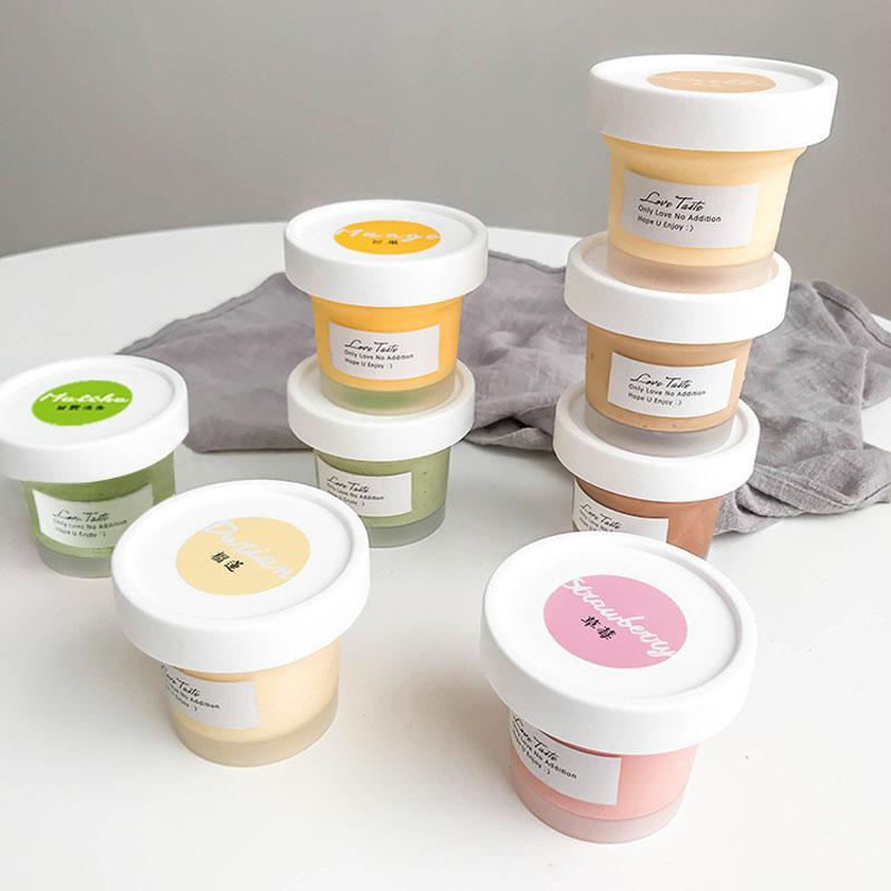 Kapak Puding Pasta Jelly Tatlı Bakeware Kupa Kutuları Ambalaj ile 100ML Buzlu Beyaz Dondurma Kupası