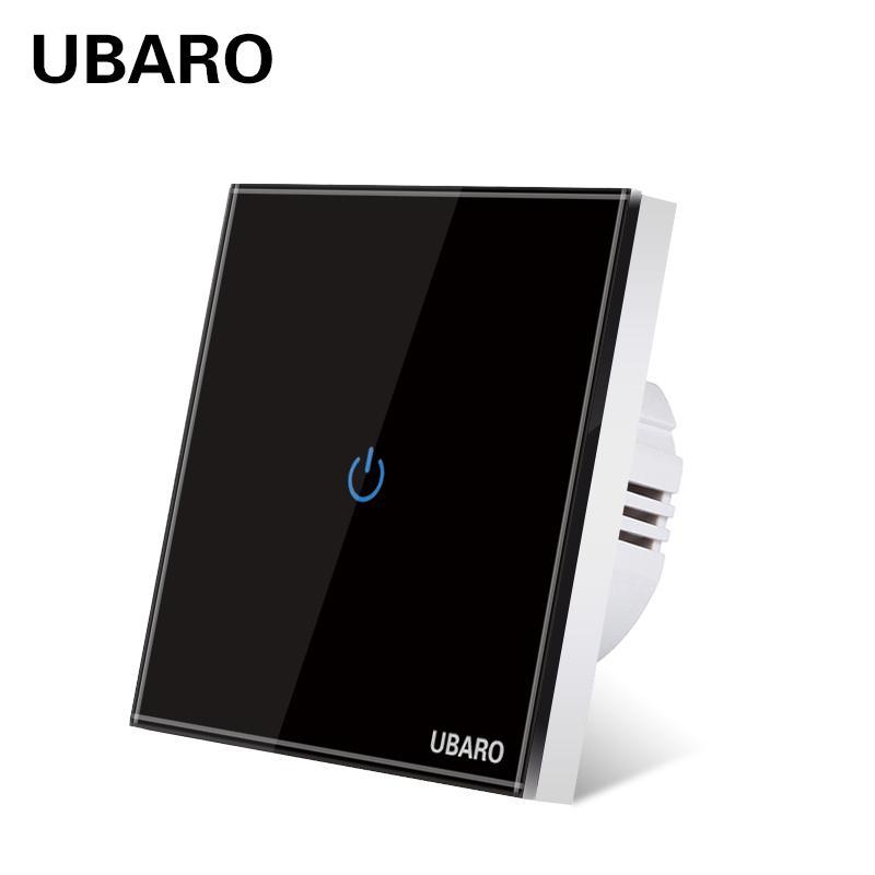 UBARO EU AC100-240 Temperieren Schwarz-weiße Kristallglas-Touch-Schalter Power-LED-Panel Wandlichtschalter 1/2/3 Gang Interruttore