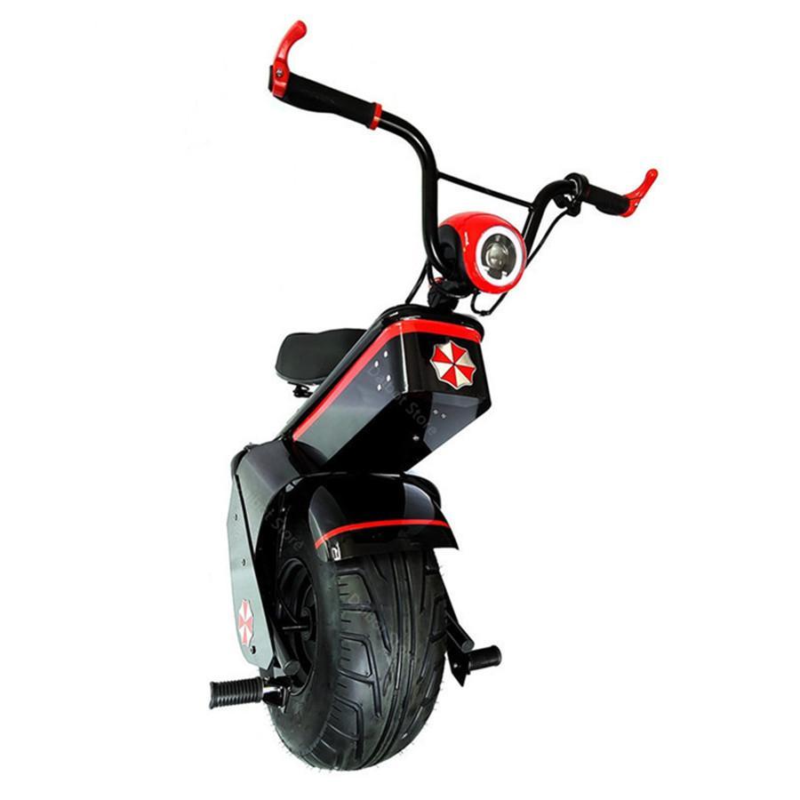Scooter eléctrico 1500W Una rueda Self-balanceo Scooter Motocicleta Asiento 110km 60V Electric Monowheel Scooter 18 pulgadas de ancho Rueda