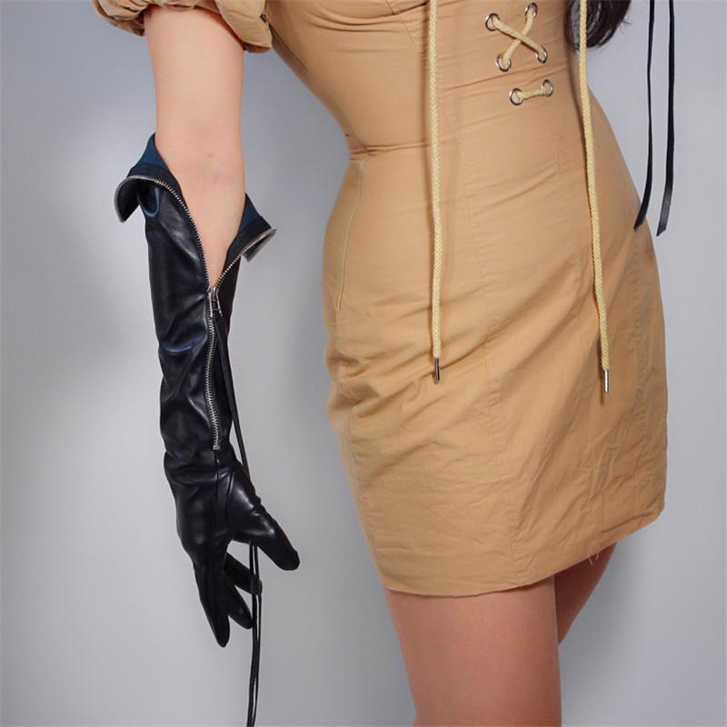 Longas luvas de couro 60cm Extra longo mão de volta prata Zipper Tassel preto Simulação de couro Touchscreen Feminino WPU172-4