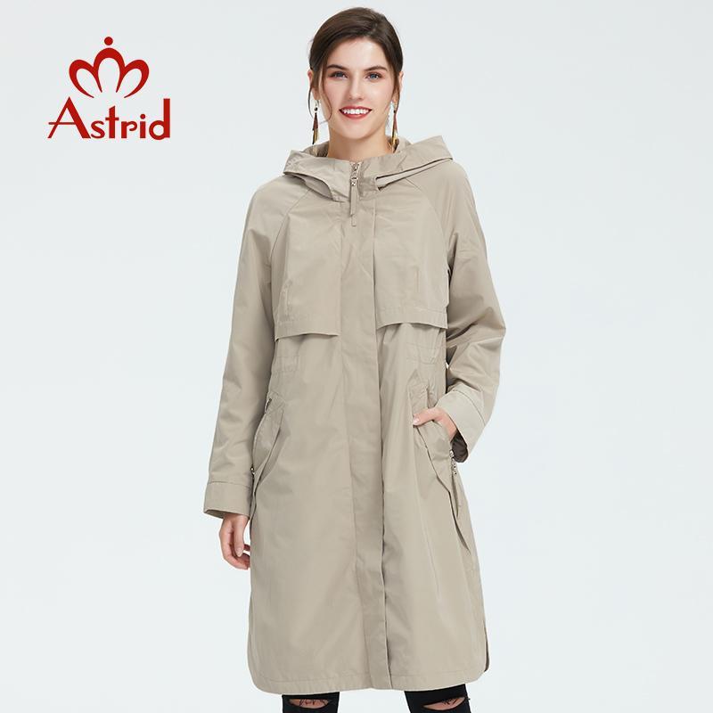 Trench printemps et manteau d'automne à manches longues femmes causales avec capuche couleur unie femme moda Muje haute qualité nouvelle AS-9046 200918