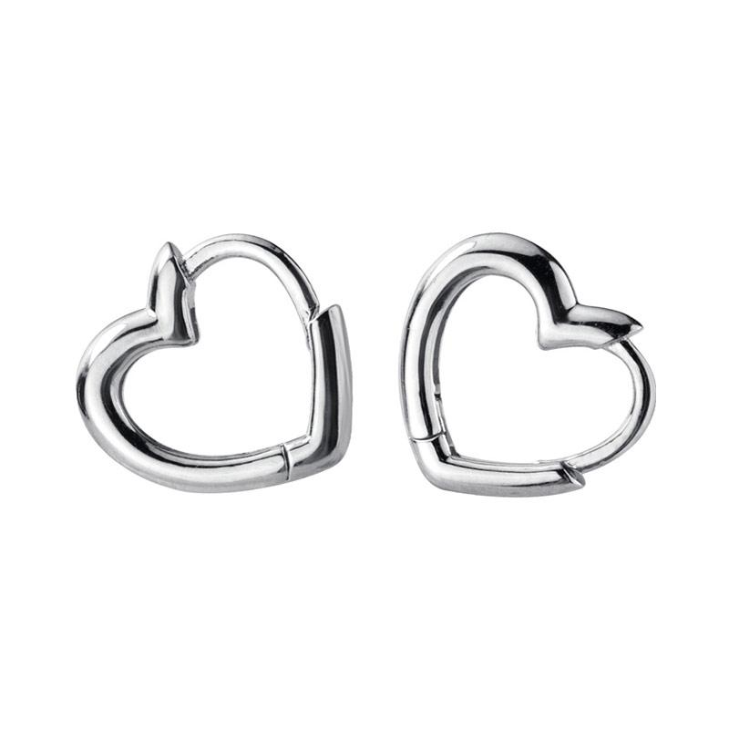925 Sterling Silver Heart Small Hoop Earrings For Women Ladies Ear Rings Clip Simple Round Circle Earrings Fashion Jewelry