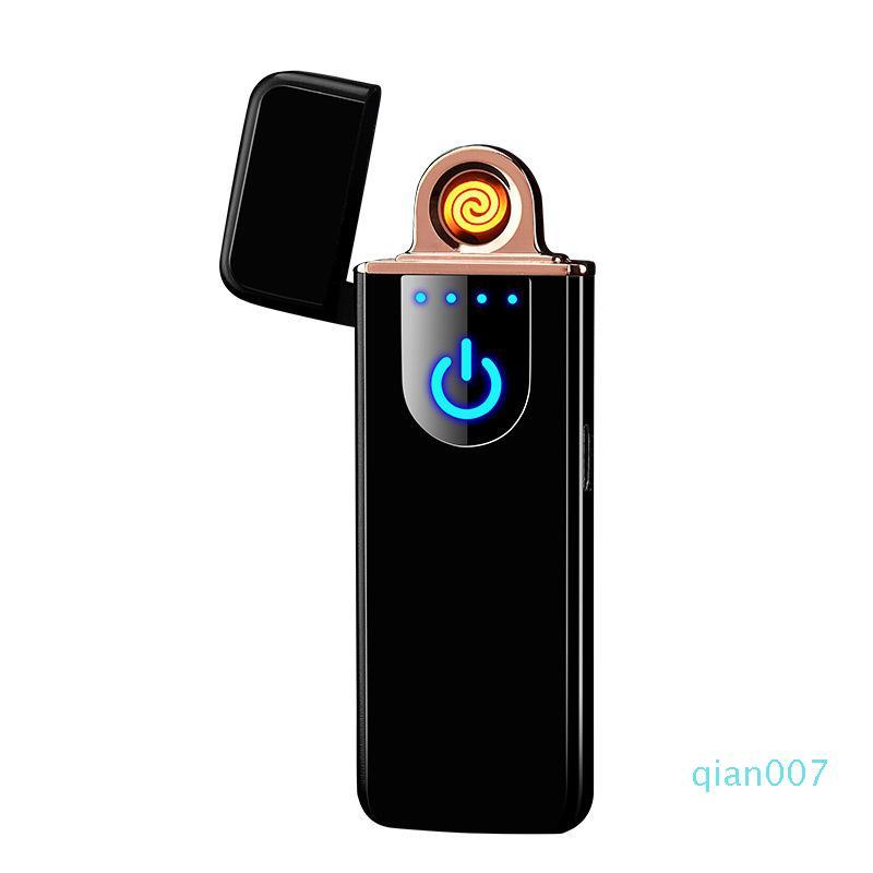 Portátil toque interruptor Tela USB recarregável cigarro do isqueiro à prova de vento eletrônico Isqueiros Flameless Cozinha Lighter Xmas melhor presente