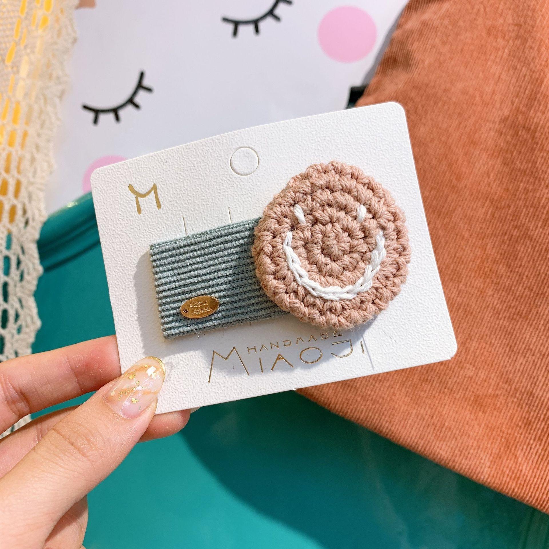 HT8vn coreana bangs tecidos à mão INS celebridade on-line emoticon lado clipe rosto grampo de cabelo de lã lã bonito simples all-jogo para as meninas
