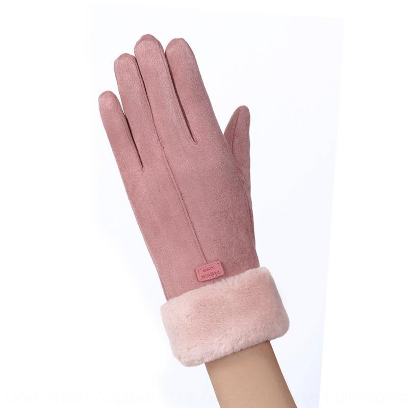 wkWXN K2N081 doppio strato in pelle scamosciata Caldo e ispessite guanti caldi guanti invernali per le donne