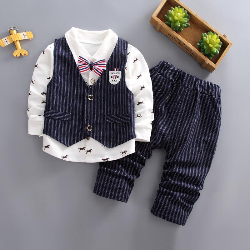 3Pcs Kindermode Junge Bekleidung Herren-Party Anzug Baumwolle Sets gestreifte Weste für 1-5 Jahre T-Shirts Hosen drucken