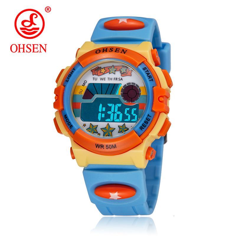 OHSEN Kids Watches Electronic 5Bar Waterproof Clocks Outdoor Sport Children Watches Fashion Digital Boys Watch Relogio Masculino