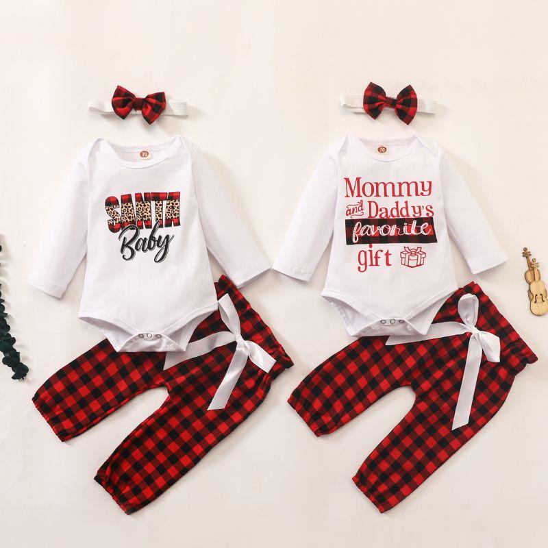아기 착용 의류 세트 긴 소매 Romper 그리드 바지 머리띠 3 개 패션 유아 소녀 크리스마스 산타 아기 의상 옷