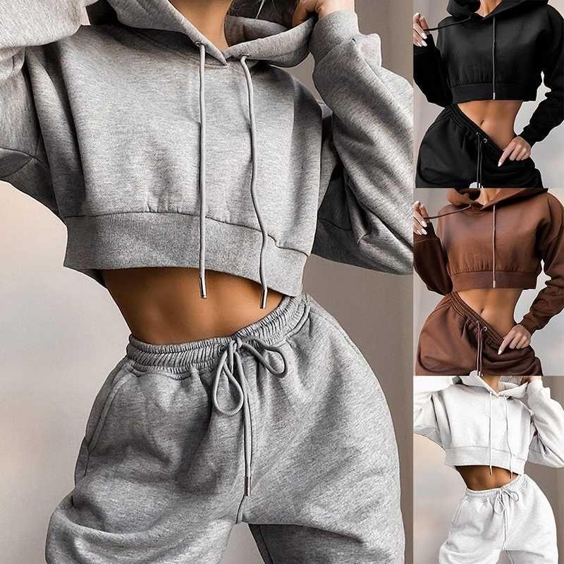 Deux Casual Piece Set à capuche couleur unie court Hauts et pantalons longs Ote 2 Piece Set Femmes Mode sexy sport féminin Survêtements