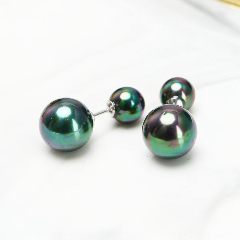 akTsy New Silver coquille double talon usure de l'oreille de perles d'eau de mer paon rare eau de mer verte boucles d'oreilles Pearl Shell