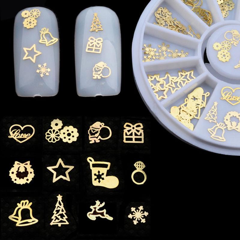 New Nail Art Sticker ouro borboleta metal Lips Projeto Pequenos acessórios de unhas Fatia Roda Decoração DIY