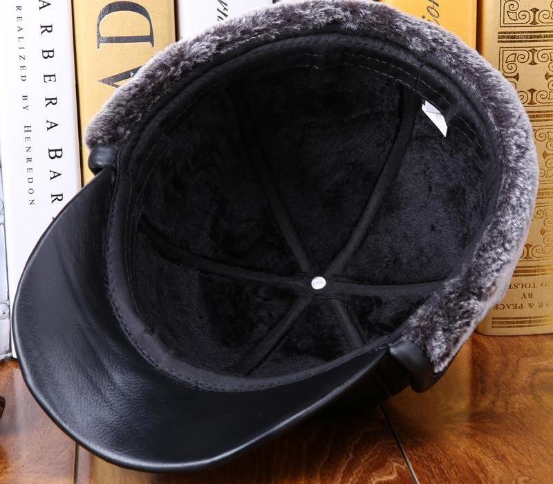 Men s Baseball Cap Autumn and Winter High Quality Cowhide Hat Elderly Warm Elderly Earmuffs Casual Leather Warm Cap B-725766