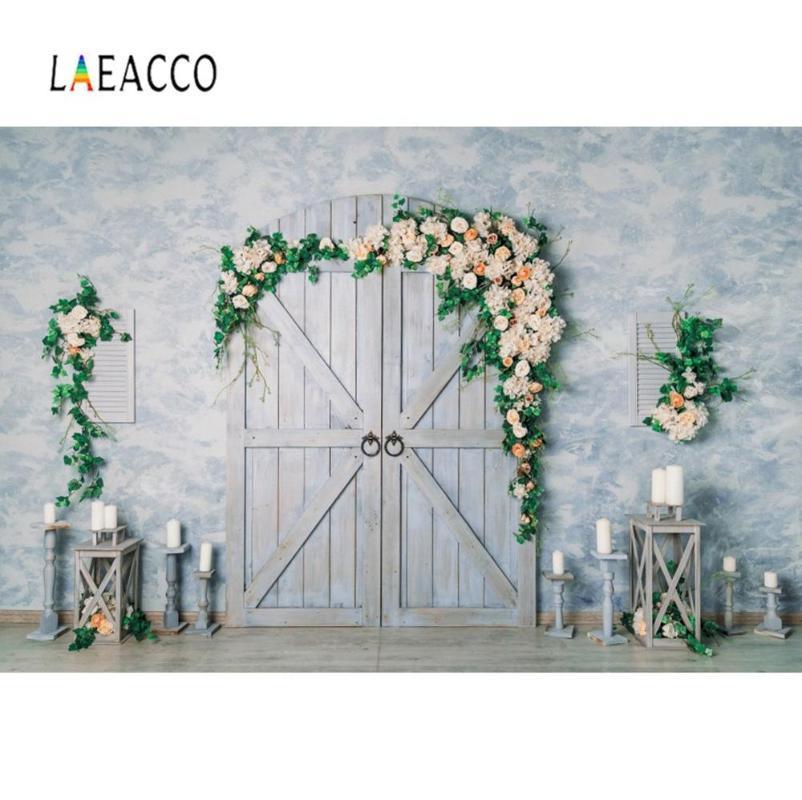 Laeacco Düğün Mum Çiçek Çelenk Eski Ahşap Kapı Çimento Duvar Basit Dekor Sahne Fotoğraf Arkaplan Fotoğraf Arka Plan Resmi