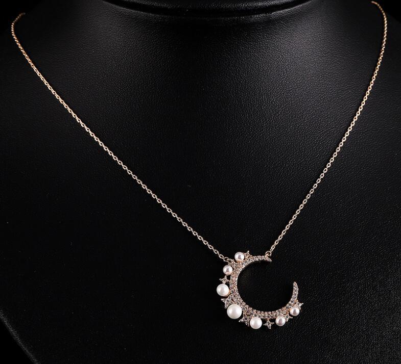 gemma Luna piena in rame micro intarsiati gioielli accessori modelli catena zircone donne clavicola perla