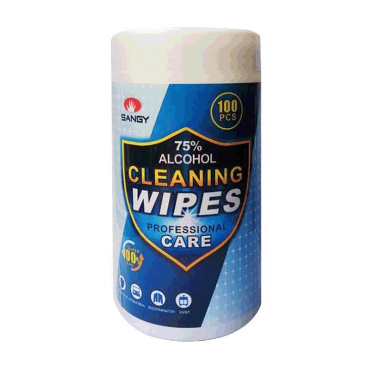 100 cps toallitas en un cubo esterilizada toallitas en un bote de 75% algodón con alcohol para los adultos y los niños que trabajan en el hogar HHD1574