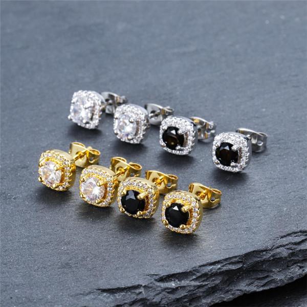 Para hombre Hip Hop Pendientes de joyería de la alta calidad de la manera redonda Oro Plata Negro Diamante Pendientes para los hombres.