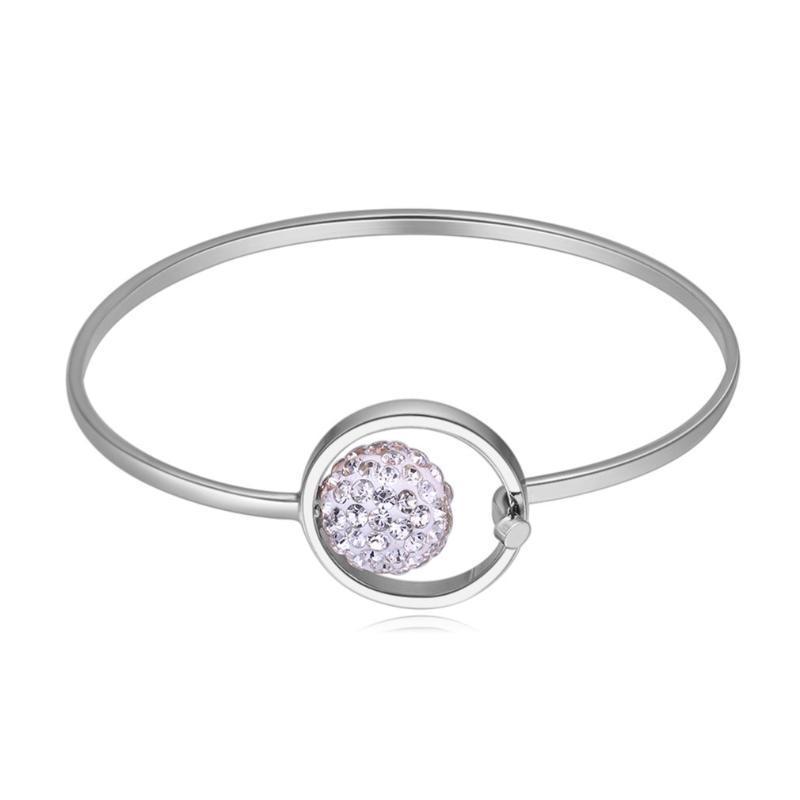 Bracelet pas cher Filles Femmes de luxe en argent plaqué chaîne motifs Carve Parti ovale Bangle Voyage Femme Liquidation Bijoux