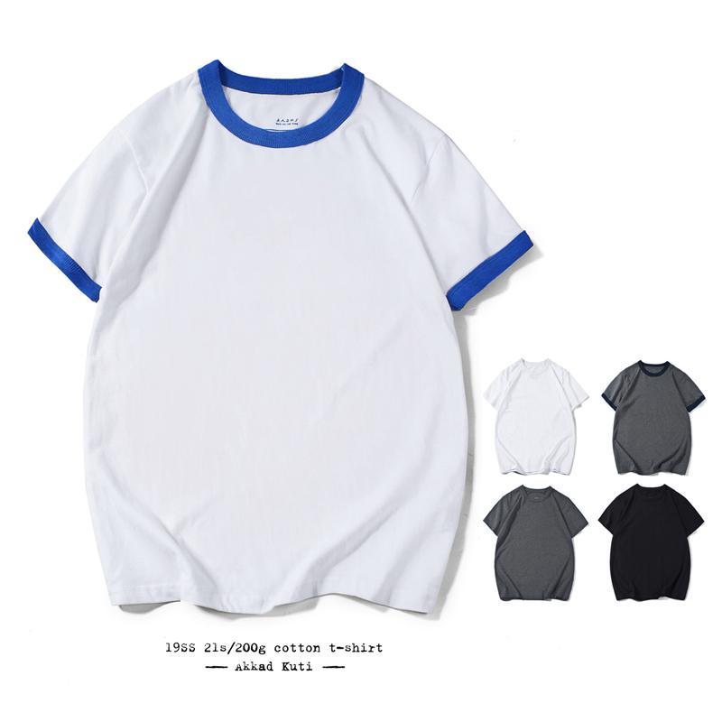 Akkad Kuti 2020 verão novo casual de mangas curtas de manga curta t-shirt 100% algodão t-shirt costurando cor redonda colarinho camisetas para homens
