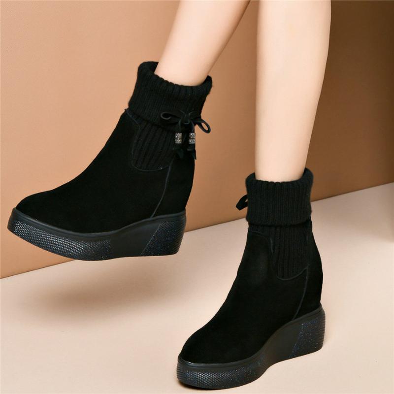 Мода кроссовки женщин из натуральной кожи высокой пятки клинья снега сапоги Женщины Вязание High Top Зимние теплые Fur платформы насосы обувь