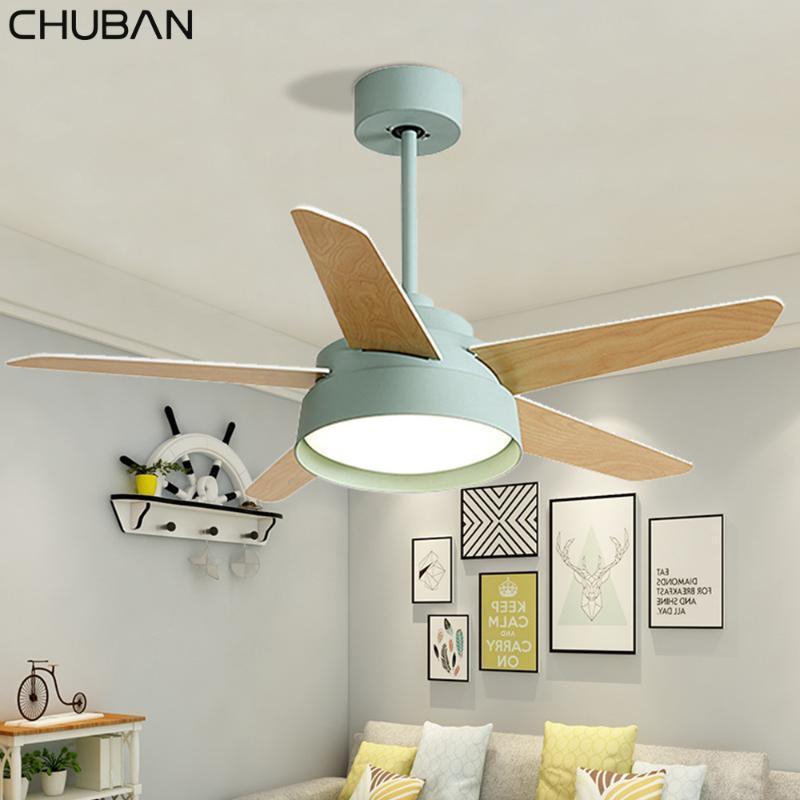 Ventilatori elettrici lampada da soffitto a soffitto in legno con telecomando moderno retrò illuminazione a LED 42/52 pollici luce inverter 110V 220V