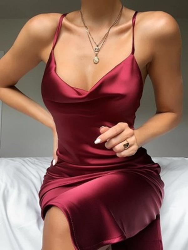 Sexy Bandage Hohl Damen Kleid Gesäß Falten Kleidung Frauen Kleidung Sommerkleider Frau Sommerkleider Roben S-XL DKCRU