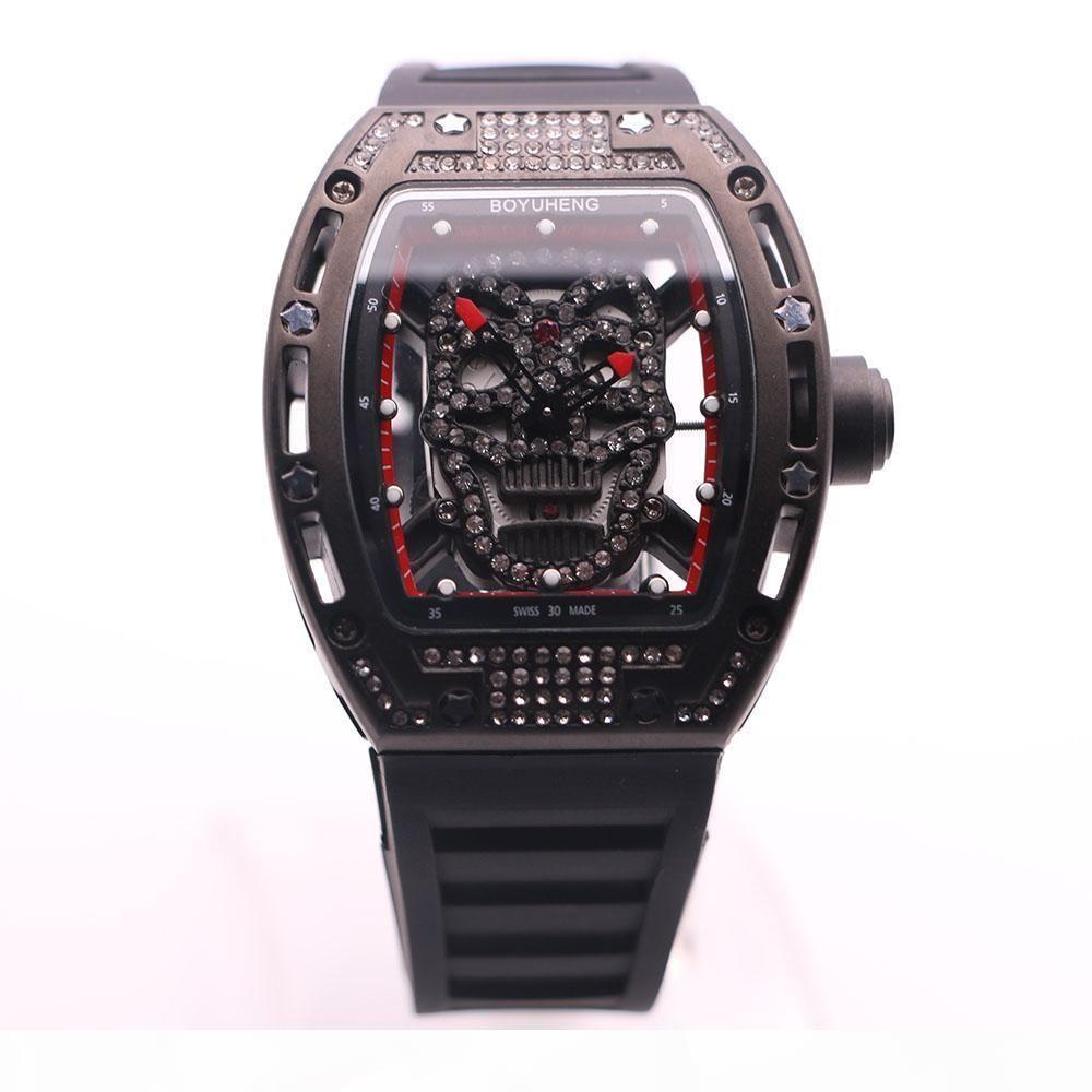 BOYUHENG 43MM Diamond Hollow Skull Skeleton Dial Red Tonneau Mens Watches Transparent Quartz Movement Rubber Band Great Watch Wristwatches