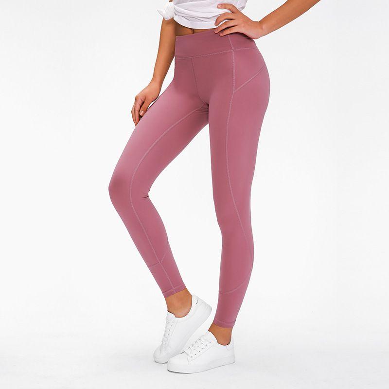2020 nouveaux exercices de levage pantalons de yoga couleur unie couleur unie nu des femmes de couture de la hanche pantalons longueur cheville
