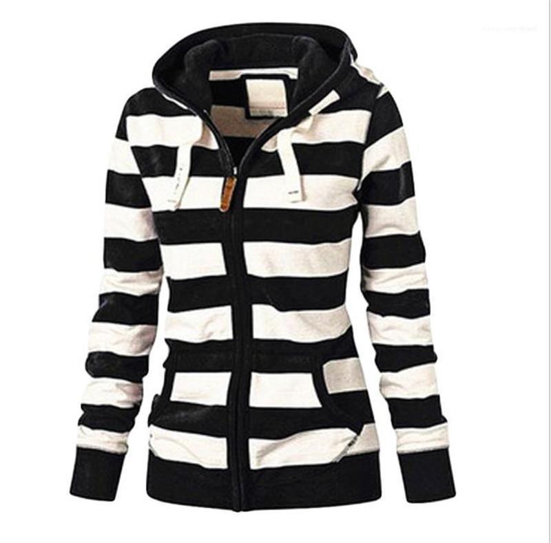 Couleur Hoodies Vêtements pour femmes Femmes Designer Hoodies Imprimer rayé Casual manches longues Zipper Sweats à capuche mode naturel