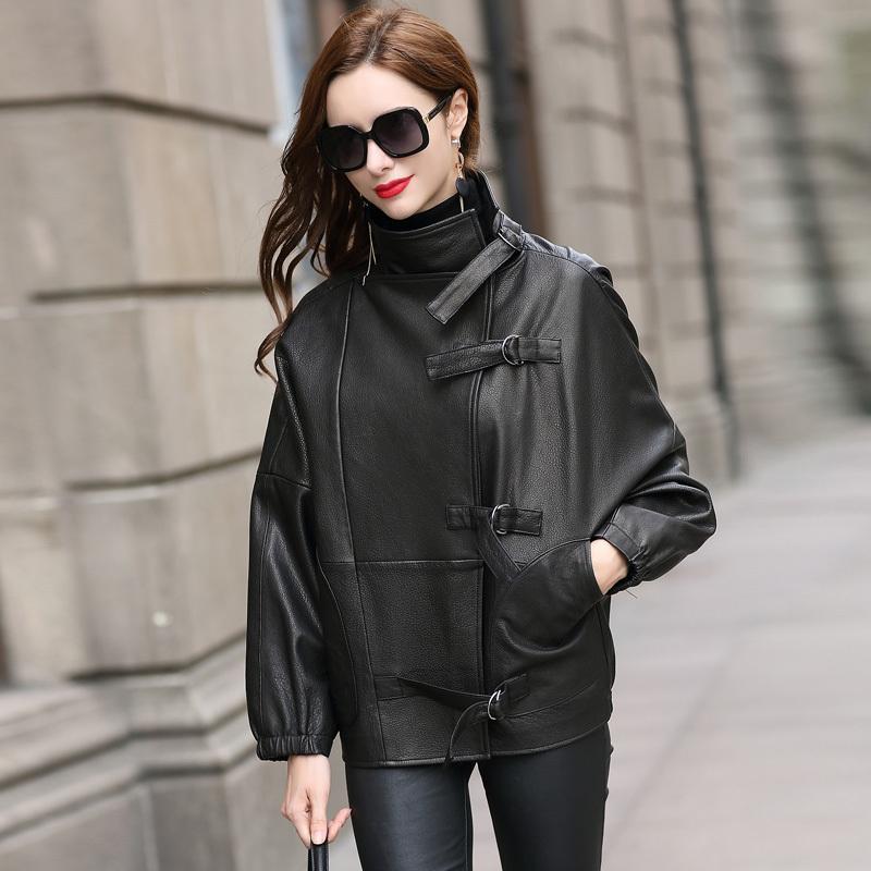 Lautaro schwarze Kunstlederjacke Frauen lange Hülse plus Größenoberbekleidung 6xl 7XL Street Frauen des koreanischen Art Frauen arbeiten 2020 T200908