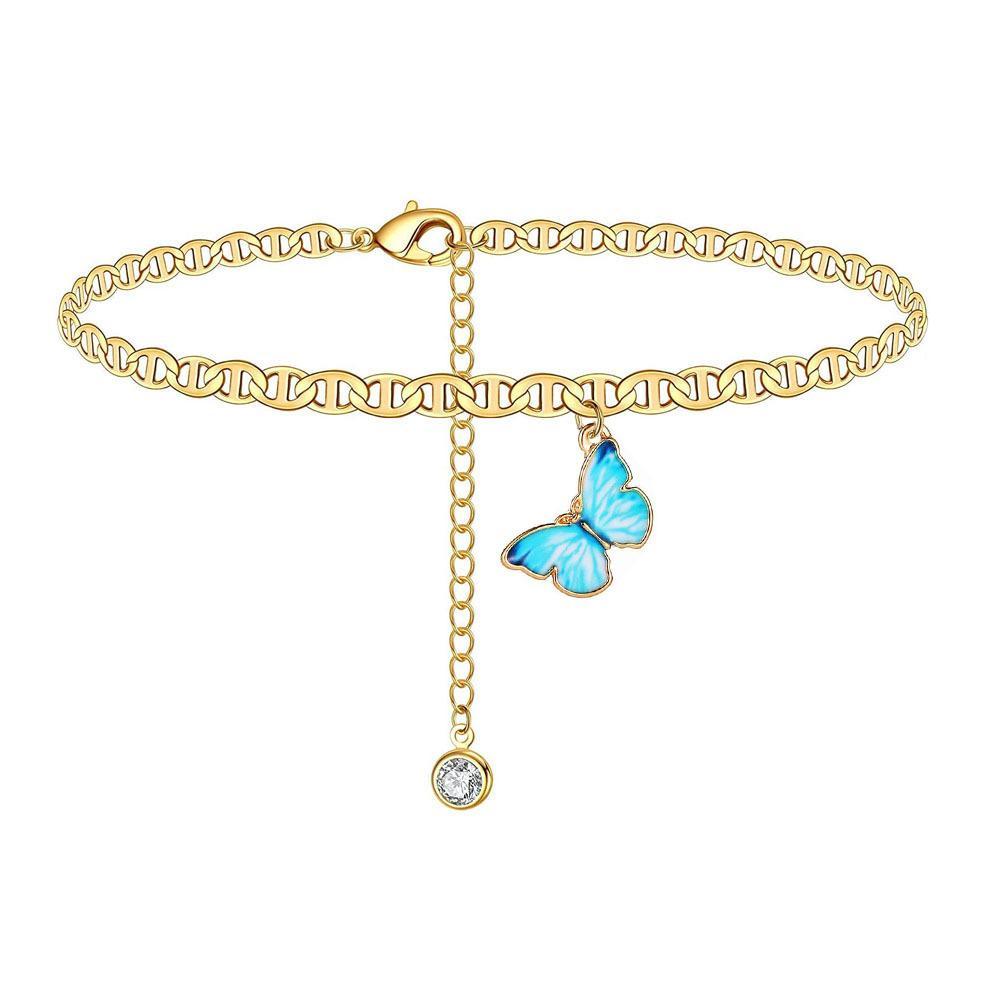 Butterfly Charm Anklet Chain Silver Gold Diamond Beach Cadenas de Pulsera Pulsera Mujer Moda Joyería Regalo Will y Sandy Drop Ship