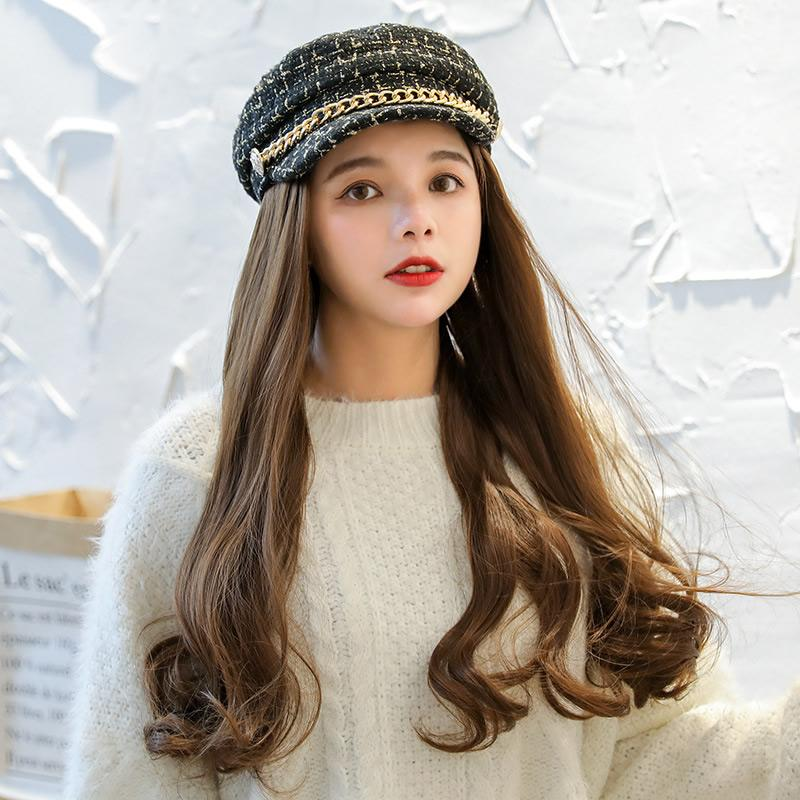 New designer hair bonnets women wig hat Girl Conjoined Wave wig Retro beret Hat with Hair Synthetic Hat for Women Summer beret