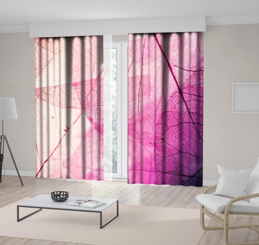 Cortina cortinas transparentes folhas artísticas outono temporada na natureza cores macias vista floral po impressa fúcsia roxo